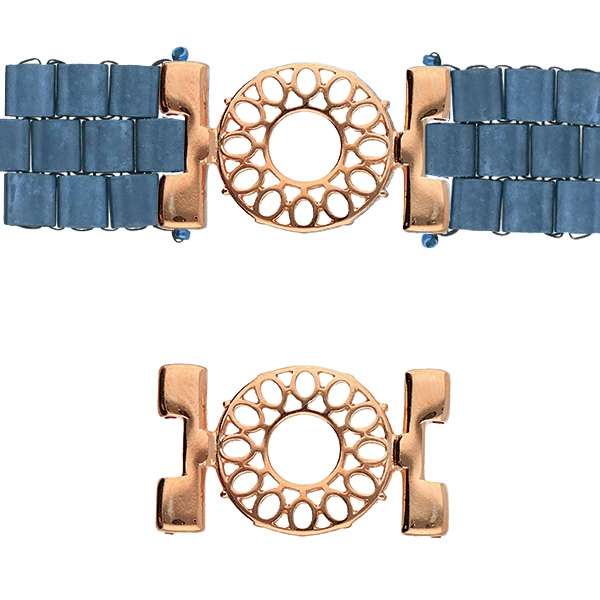 CYM-TL-012511-RG - Detis - Tila Bead Connector - Rose Gold Plated - 1 Piece