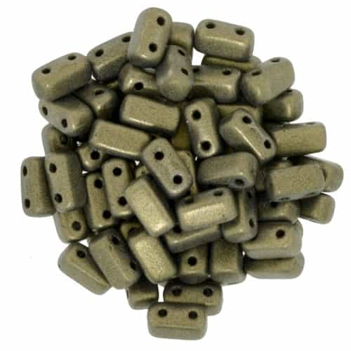 CzechMates Bricks 3x6mm - CZB-79080 - Metallic Suede - Gold - 25 Pieces