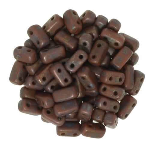 CzechMates Bricks 3x6mm - CZB-CT13610 - Umber - Copper Picasso - 25 Pieces