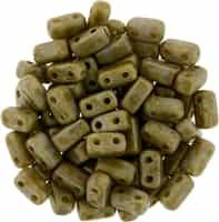CzechMates Bricks 3x6mm - CZB-CT43020 - Ashen Grey - Copper Picasso - 25 Pieces