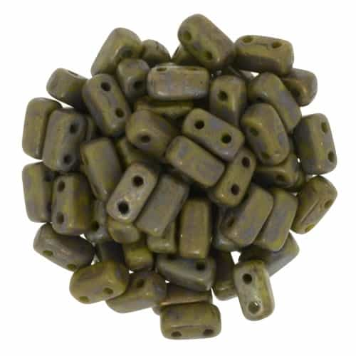 CzechMates Bricks 3x6mm - CZB-CT5342 - Opaque Olive - Copper Picasso - 25 Pieces