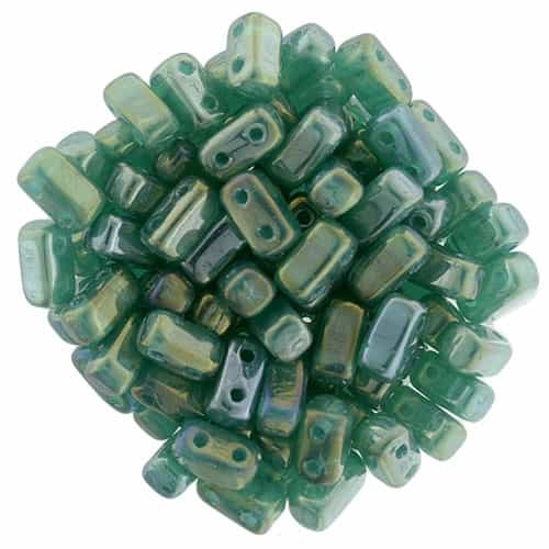 CzechMates Bricks 3x6mm - CZB-LR52060 - Luster Iris - Atlantis Green - 25 Pieces