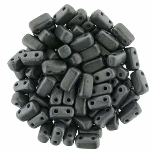 CzechMates Bricks 3x6mm - CZB-M14400 - Matte - Hematite - 25 Pieces