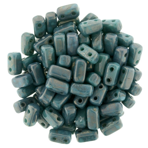 CzechMates Bricks 3x6mm - CZB-MD6315 - Persian Turquoise - Moon Dust - 25 Pieces