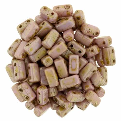 CzechMates Bricks 3x6mm - CZB-P65491 - Luster - Opaque Rose/Gold Topaz - 25 Pieces