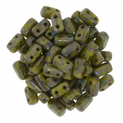 CzechMates Bricks 3x6mm - CZB-T5342 - Picasso - Opaque Olive