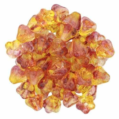 CZBBF-48001 - Baby Bell Flowers 4/6mm : Dual Coated - Fuchsia/Lemon - 25 Count