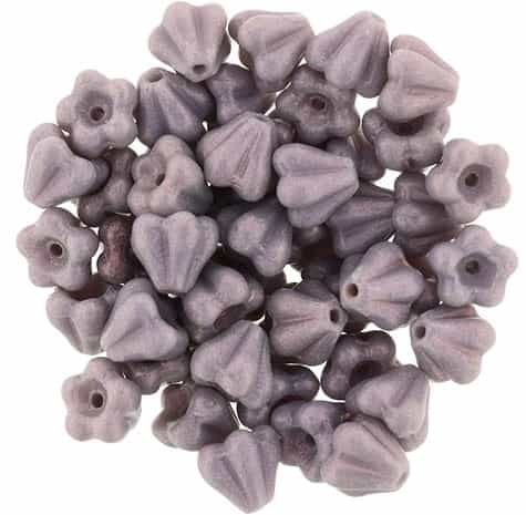 CZBBF-S13C23020 - Baby Bell Flowers 4/6mm : Metallic Suded - Amethyst - 25 Count
