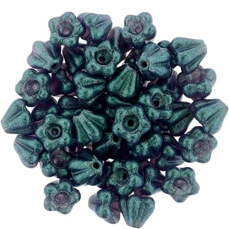 CZBBF-S15C2051 - Baby Bell Flowers 4/6mm : Glow Green - Tanzanite - 25 Count