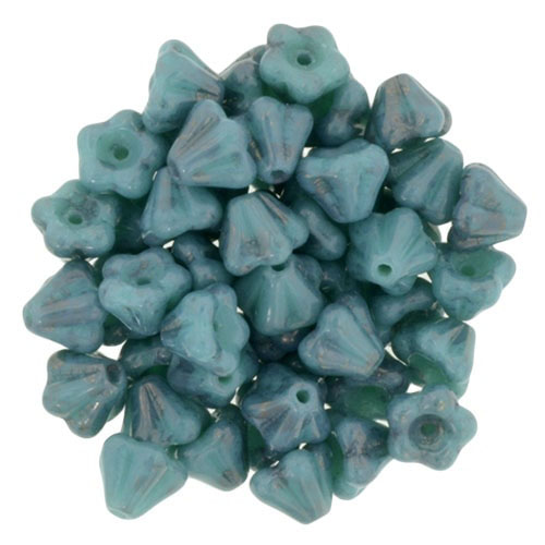 CZBBF-UL63130 - Baby Bell Flowers 4/6mm : Luster - Opaque Turquoise - 25 Count
