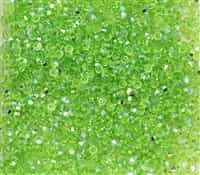 Machine Cut 3mm Bicone Crystals : CZBC3-X5052 - Peridot AB - 25 count