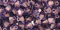 Machine Cut 4mm Bicone Crystals : CZBC4-15726 - Luster - Transparent Amethyst - 25 count
