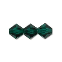 Preciosa Machine Cut 4mm Bicone Crystals : CZBC4-5014 - Emerald - 25 count