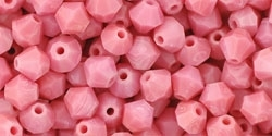 Machine Cut 4mm Bicone Crystals : CZBC4-73020 - Opaque - Pink - 25 count
