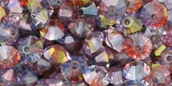 Machine Cut 4mm Bicone Crystals : CZBC4-91006 - Luster - Amethyst/Blue/Crystal - 25 count