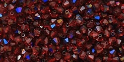 Machine Cut 4mm Bicone Crystals : CZBC4-BR9008 - Siam Ruby - Blue Iris - 25 count