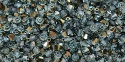 Machine Cut 4mm Bicone Crystals : CZBC4-HL6001 - Hematite Luster - Aquamarine - 25 count