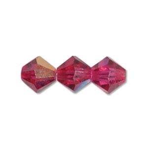 Machine Cut 4mm Bicone Crystals : CZBC4-X7001 - Fushia AB - 25 count