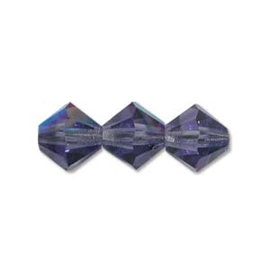 Machine Cut 4mm Bicone Crystals : CZBC4-XL2051 - Light Tanzanite AB - 25 count