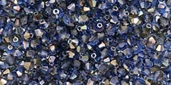 Preciosa Machine Cut 4mm Bicone Crystals : CZBC4-Z3005 - Sapphire - Celsian - 25 count