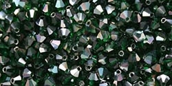 Machine Cut 4mm Bicone Crystals : CZBC4-Z5014 - AB Emerald/Celsian - 25 count