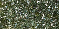 Machine Cut 4mm Bicone Crystals : CZBC4-Z5031 - Prairie Green Celsian - 25 count