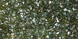 Preciosa Machine Cut 4mm Bicone Crystals : CZBC4-Z5031 - Prairie Green Celsian - 25 count
