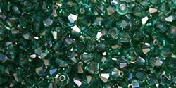 Machine Cut 4mm Bicone Crystals : CZBC4-Z6022 - AB Zircon - Celsian - 25 count