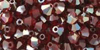 Machine Cut 4mm Bicone Crystals : CZBC4-Z9009 - AB Ruby - Celsian - 25 count