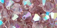 CZBC6-LTAMYAB - Bicone Czech Crystal - Light Amethyst AB - 25 count