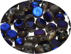 CZCAB-00030-22283 - All Beads Original 2-hole Cabochon 6mm - Crystal Etched Azuro Full - 12 Count