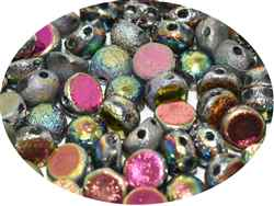 CZCAB-00030-28180 - All Beads Original 2-hole Cabochon 6mm - Crystal Etched Full Vitrail - 12 Count