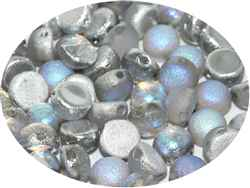 CZCAB-00030-98580 - All Beads Original 2-hole Cabochon 6mm - Crystal Etched Silver Rainbow - 12 Count