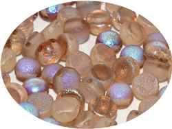 CZCAB-00030-98582R - All Beads Original 2-hole Cabochon 6mm - Crystal Etched Brown Rainbow - 12 Count