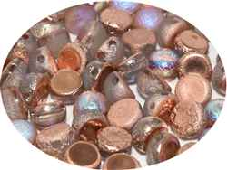 CZCAB-00030-98583 - All Beads Original 2-hole Cabochon 6mm - Crystal Etched Copper Rainbow - 12 Count