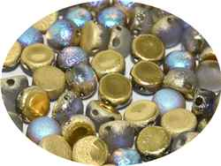 CZCAB-00030-98586 - All Beads Original 2-hole Cabochon 6mm - Crystal Etched Golden Rainbow - 12 Count