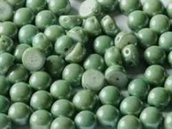 CZCAB-03000-14459 - All Beads Original 2-hole Cabochon 6mm - Chalk White Teal Luster - 12 Count