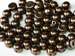 CZCAB-23980-14415 - All Beads Original 2-hole Cabochon 6mm - Jet Bronze - 12 Count