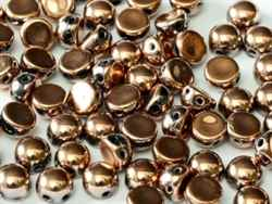 CZCAB-23980-27100 - All Beads Original 2-hole Cabochon 6mm - Jet Capri Gold Full - 12 Count