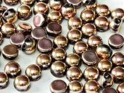 CZCAB-23980-27143 - All Beads Original 2-hole Cabochon 6mm - Jet Full Capri Rose - 12 Count