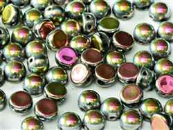 CZCAB-23980-28100 - All Beads Original 2-hole Cabochon 6mm - Jet Vitrail Full - 12 Count