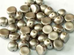 CZCAB-25005 -All Beads Originial  2-hole Cabochon 6mm Alabaster Pastel Light Brown - 12 Count