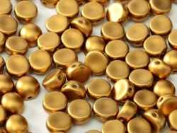 CZCAB-29415 - All Beads Original 2-hole Cabochon 6mm - Alabaster Metallic Brass - 12 Count