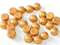 CZCAB-29421 - All Beads Original 2-hole Cabochon 6mm - Alabaster Metallic Gold - 12 Count
