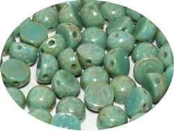 CZCAB-63020-43400 - All Beads Original 2-hole Cabochon 6mm - Turquoise Picasso  - 12 Count