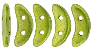 CZCRESC-05A09 : CzechMates Crescent : ColorTrends: Saturated Metallic Lime Punch - 4 Grams - Approx 30 Beads