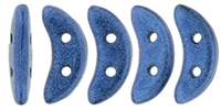 CZCRESC-79031 : CzechMates Crescent : Metallic Suede - Blue - 4 Grams - Approx 30 Beads