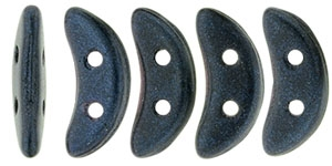 CZCRESC-79032 : CzechMates Crescent : Metallic Suede - Dark Blue - 4 Grams - Approx 30 Beads