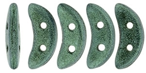 CZCRESC-79051 : CzechMates Crescent : Metallic Suede - Lt. Green - 4 Grams - Approx 30 Beads