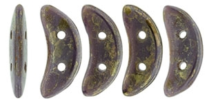 CZCRESC-BT2303 : CzechMates Crescent : Opaque Purple - Bronze Picasso - 4 Grams - Approx 30 Beads